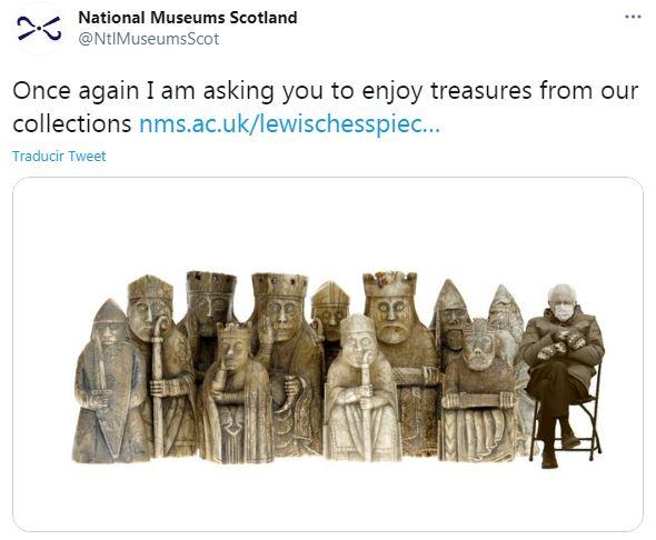 Bernie Sanders con el ajedrez de los National Museums of Scotland