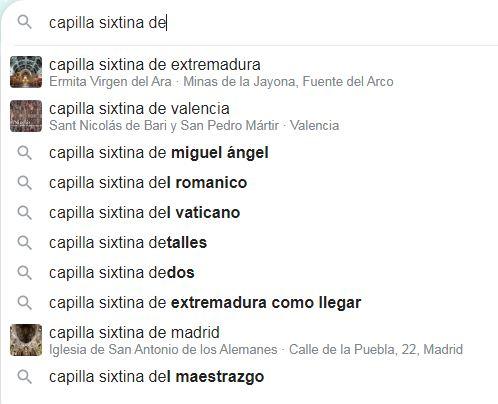 """Resultados del búsqueda de la """"Capilla Sixtina de"""" con autocompletar"""