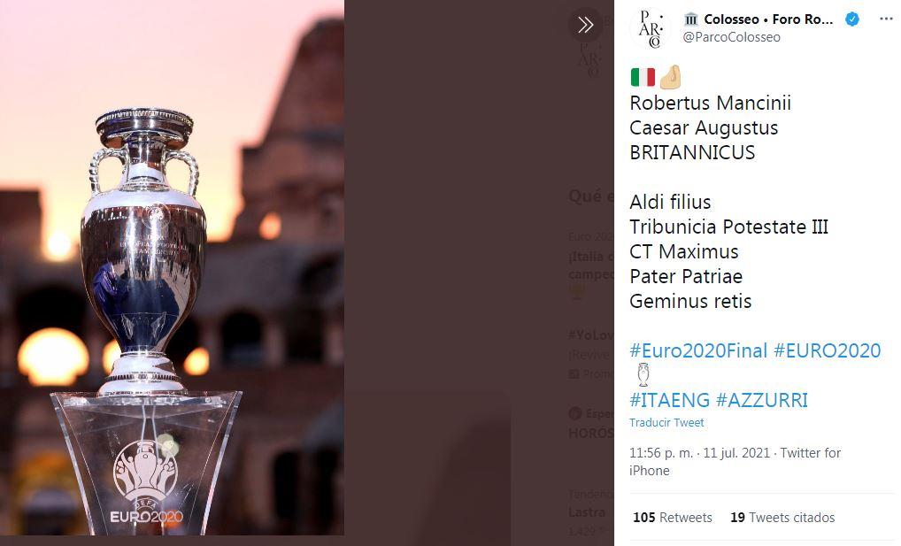 Felicitación del Colosseo de Roma al CT de Italia, Roberto Mancini